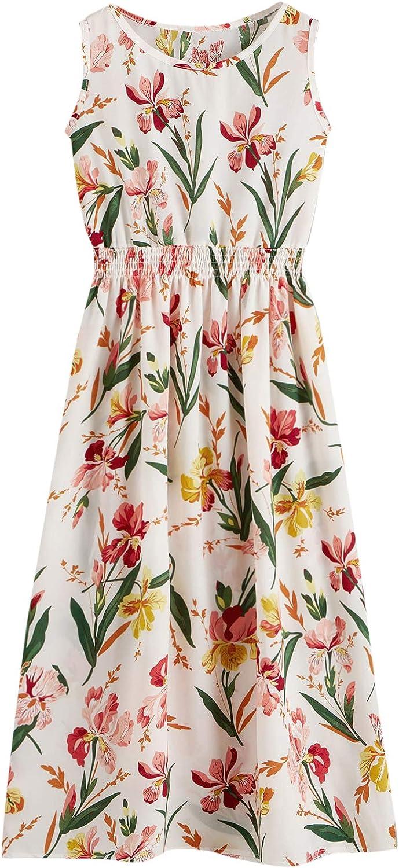Milumia Women's Floral Print Shirred High Waist Sleeveless Round Neck Flowy Long Dress