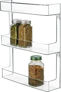 iDesign Linus Plastic Wall Mount Spice Organizer Rack for Spices, Tea, Sauces, and Baking Supplies in your Kitchen or Pantry, Clear