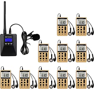 Retekess Church Translation System with TR506 Portable Mini Transmitter and V112 AM FM Radio Receivers Support Microphone AUX Input