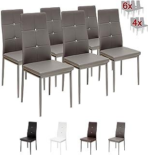 comprar comparacion Albatros 3100 Diamond Set de 6 sillas de Comedor, Gris, SGS Tested