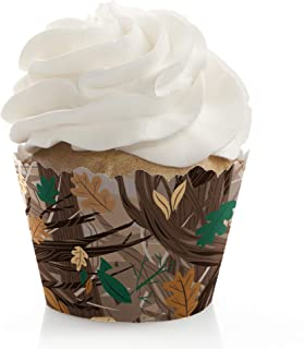Gone Hunting - Deer Hunting Camo Baby Shower or Birthday Party Decorations - Party Cupcake Wrappers - Set of 12