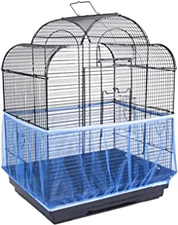 ANTOLE Universal Bird Cage Seed Catcher Stretchy Nylon Mesh Bird Cage Cover Parrot Cage Net Soft Airy (M Size, Blue)