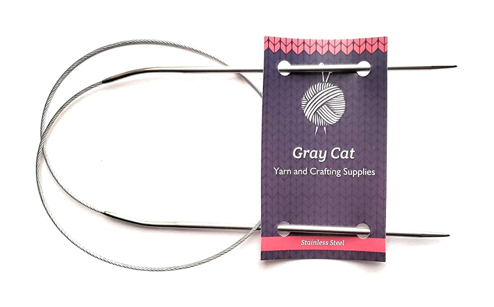 Gray Cat Circular Firm Cable 25-inch (65 cm) Knitting Needles; Size 1.5 (2.5 mm)