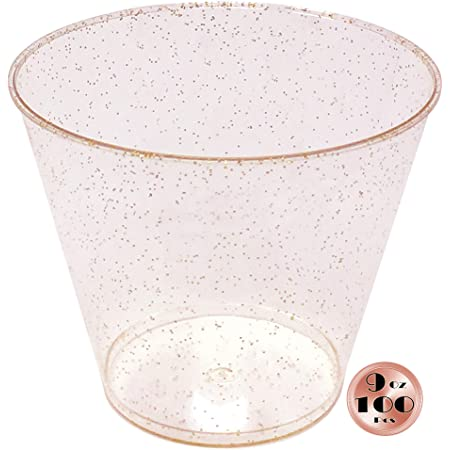 60Pcs Rose Gold Side Plastic Strong Tumblers Drinking Cup Home Party Picnic UK