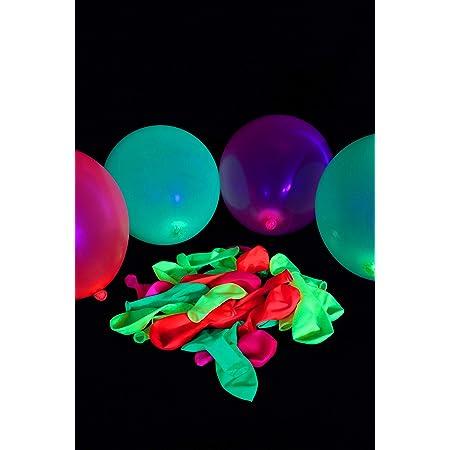 100 Ballons Fluo – Latex qualité Hélium – 4 Couleurs Fluorescentes – Diamètre 25 cm