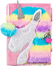 Justice Faux Fur Unicorn Diary / Journal with Heart Lock, Pink Pen, and Pom Ribbon Bookmark