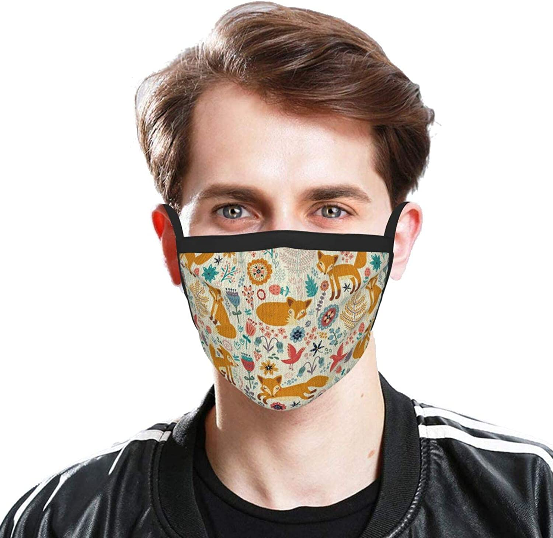 Cute Foxes Ornate Flowers Face Mask Men & Women Face Cover Bandana, Multifunctional Headband Scarf Neck Gaiter Balaclava