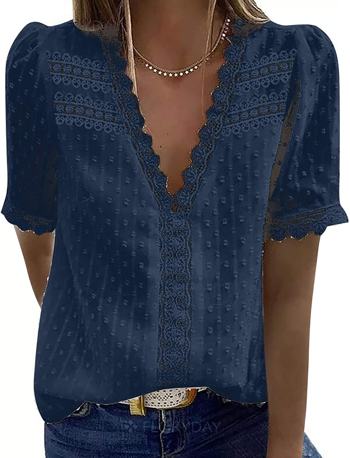 NIANTIE Women Summer Fashion New Lace Trim V-Neck Casual T-Shirt Sleeveless Tank Tops Solid Color Blouse Tunic