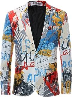 Allthemen Mens Casual Suits Blazer Funky Printed Suit Jackets Slim Fit One Button Blazer Party Wear Tuxedo Jacket Tops