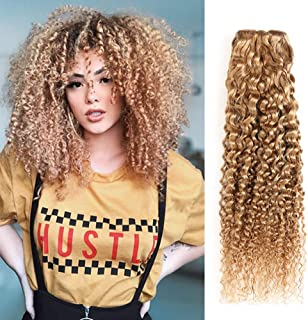 XCCOCO Hair Honey Blonde Curly Hair One Bundle 16inch Pre Colored 27# Dark Blonde Color Brazilain Kinkys Curly Ombre Human Hair Weave Extensions,100grams/bundle