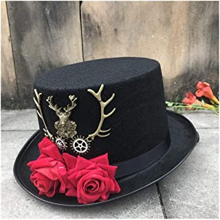 SHENTIANWEI Women New Handmade Steampunk Top Hat with Flowers Stage Magic Hat Wedding Hat Cosplay Hat Size 57CM