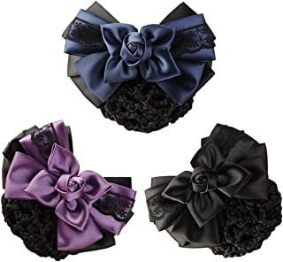 LiveZone (Pack of 3) Women Hair Bun Cover Net Snood Hairnet Bowknot Decor Barrette Hair Clip Bow Lace Flower Hair Accessor...