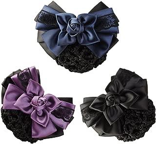 LiveZone (Pack of 3) Women Hair Bun Cover Net Snood Hairnet Bowknot Decor Barrette Hair Clip Bow Lace Flower Hair Accessories ,3 Color-Black & Blue & Purple