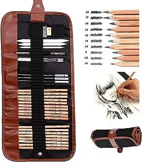مجموعة اقلام الرسم سكيتش بممحاة ومشرط وقلم تلوين ورقي وموسع للقلم وحقيبة - 29 قطعة
