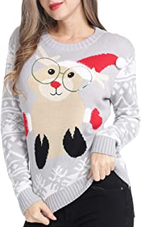 Womens Ugly Christmas Sweater Knit Funny Cute Pullover Sweaters