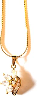Gold Plated Chain Necklace With Flower Pendant With Gift Box