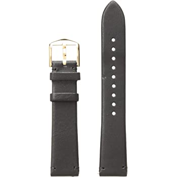Fossil Women's 18mm Leather Watch Band, Color: Black (Model: S181390)
