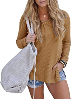 iChunhua Womens Henley Blouse Button Down Pullover Knit Long Sleeve Lightweight Shirts Tops