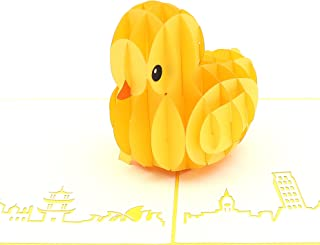 Liif Rubber Duck Pop Up Card, 3D Duck Pop Up Card, Pop Up Card for All Occasional, Birthday, Kids, Baby Shower, Baby Announcement, Animal Lover