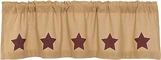 VHC Brands Country Kitchen Curtains Rod Pocket Stenciled Cotton Burlap Star 16x60 Valance, Burgundy Natural Tan