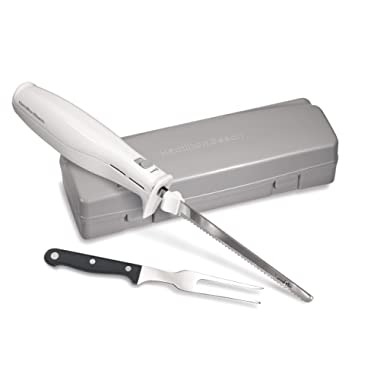 Hamilton Beach Electric Knife for Carving Meats, Poultry, Bread, Crafting Foam & More, Storage Case & Serving Fork Included, White