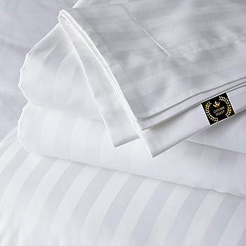 US Bedding Collection Ultra-Plush 1000 TC Egyptian Cotton White Stripe