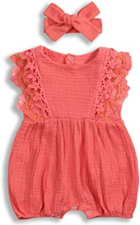 KCSLLCA Baby Girls Lace Romper Set Ruffle Sleeve Solid Color Onesie with Headband