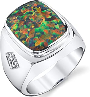 Men's Created Black Opal Knight Ring Sterling Silver Sizes 8 To 13