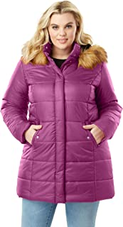 e21d9f97 Roamans Women's Plus Size Classic-Length Quilted Parka with Hood