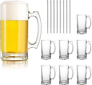 Beer Mugs Set,Glass Mugs With Handle 16oz,Large Beer Glasses For Freezer,Beer Cups Drinking Glasses 500ml,Pub Drinking Mug...