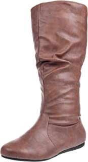 Enimay Women's Winter Fashion High Mid Calf Slouchy Flat Casual Dress Boot