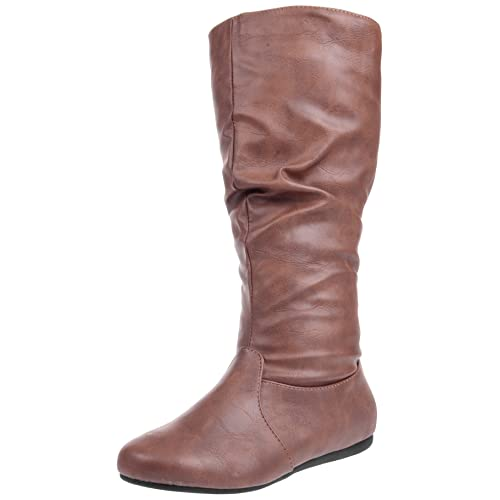28f23975ed2 Enimay Women's Winter Fashion High Mid Calf Slouchy Flat Casual Dress Boot