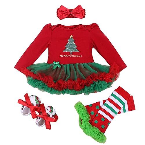 Fille Bébé Barboteuse Set de Vêtements pour Fête - Barboteuse + Bandeau de Cheveux + Jambières + Chaussures - Cadeau Parfait - Rouge