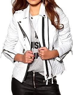 Aaron Craft Women's Lambskin Leather Bomber Biker Jacket