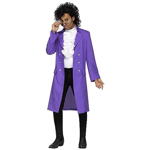 a82873797aa0cd Prince Purple Rain Pop Star Mens Fancy Dress 80s Music Celebrity Adults  Costume (XL Up