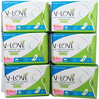 VLOVE Natural Daily Panty Liners for Women, Patented Anion Strip, Light Absorbency, Scented-180Count(Pack of 6)