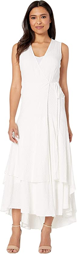 850556576ce2 New. White Silver. 5. Calvin Klein. Sleeveless Faux Wrap Gauze Dress