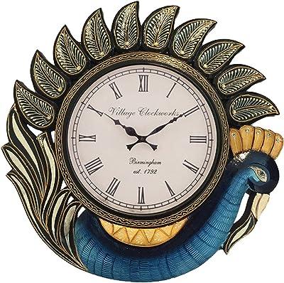 RoyalsCart KTWC10 Peacock Wood Analog Wall Clock (Multicolour)