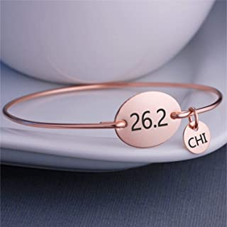 26.2 Marathon Bangle Bracelet - Personalized with Race Cities - Silver, Gold & Rose Gold