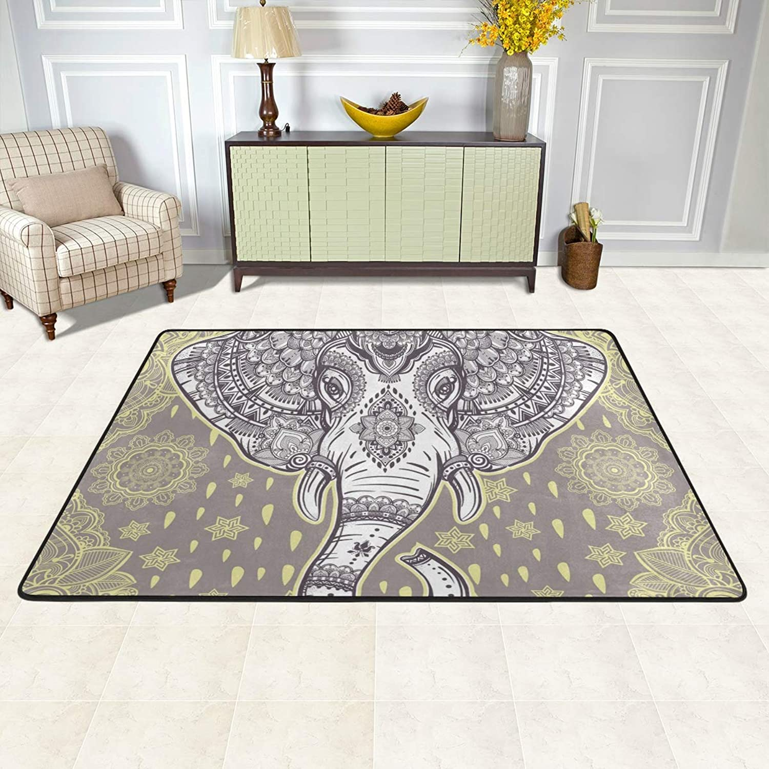 MALPLENA Boho Ethnic Elephant Rugs for Living Room Doormat Carpet Floor Mats shoes Scraper for Living Room Dining Room Bedroom Kitchen Non Slip