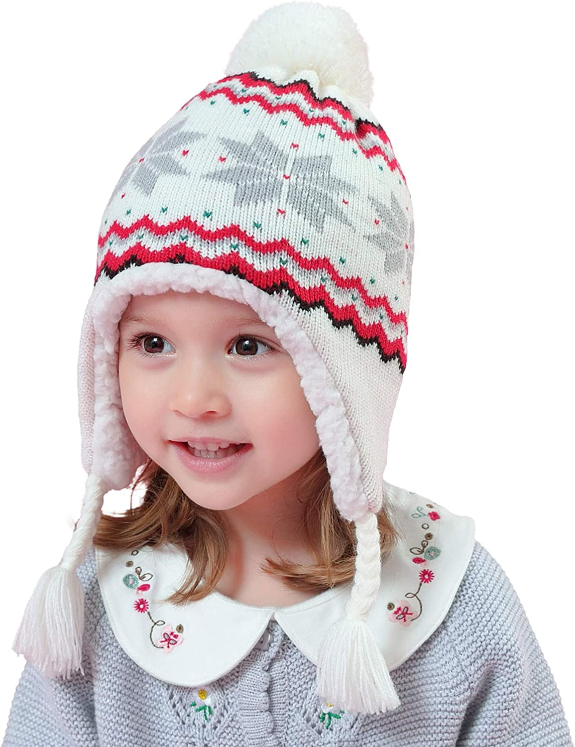 Connectyle Toddler Infant Baby Sherpa Lined Knit Kids Hat with Earflap Winter Hat