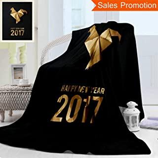 Unique Custom Warm 3D Print Flannel Blanket Golden Shiny Paper Folded Rooster Handmade Origami Craft On Black Background Nice Nat Cozy Plush Supersoft Blankets for Couch Bed, Throw Blanket 50