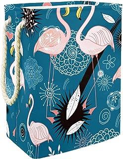 EZIOLY Panier à linge pliable en forme de flamant rose avec poignées, supports amovibles, bonne tenue, étanche pour vêteme...