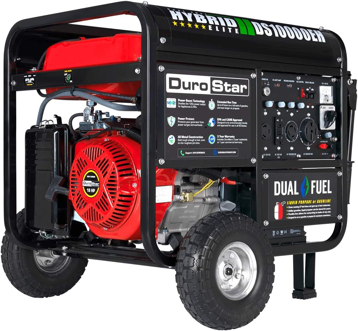 Durostar DS10000EH Dual Fuel Portable Generator-10000 Watt Electric Start-Home Back Up & RV Ready, 50 State Approved, Red/Black