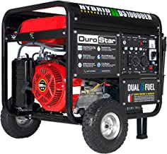 DuroStar DS10000EH Dual Fuel 10000 Watt Electric Start Portable Generator, Red/Black