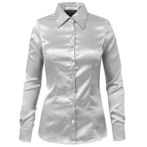 19a4dd36fe23 NE PEOPLE Womens Light Weight Long Cuff Sleeve Button Down Satin Shirt