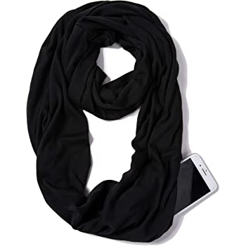 ELZAMA Infinity Loop Solid Color Scarf With Hidden Zipper Pocket For Women - Lightweight Travel Neck Wrap