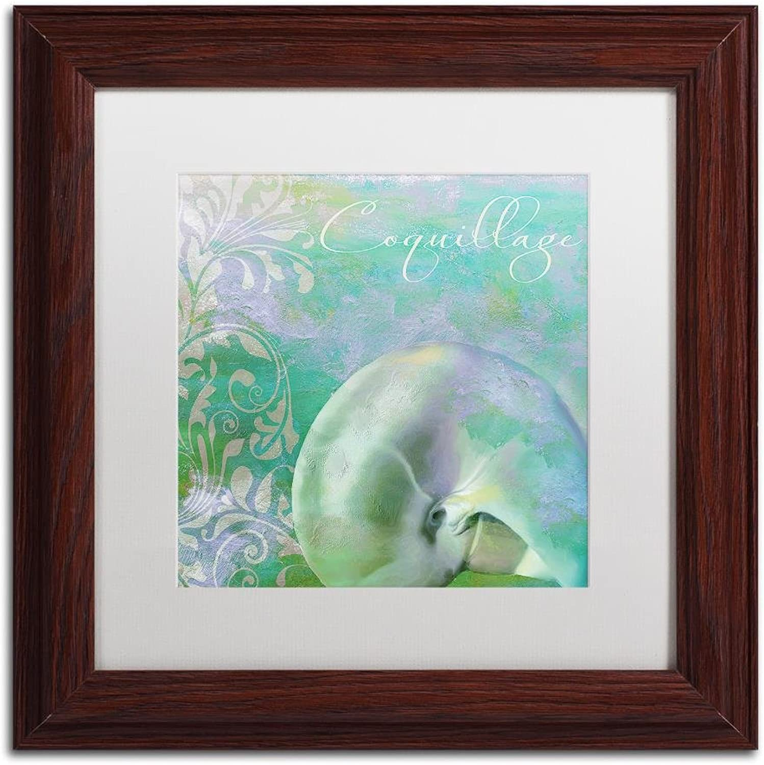 Trademark Fine Art Painted Sea II by color Bakery, White Matte, Wood Frame 11x11, Wall Art