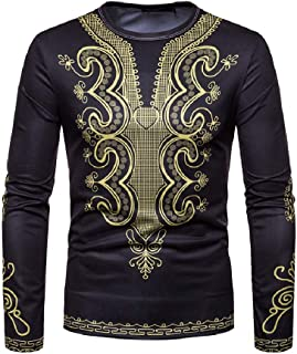 neveraway Men's African Print Dashiki Fashion T-Shirt Tops Blouse
