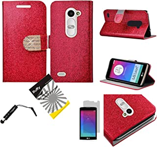 2015 LG Tribute2 LS665 / LG Leon LTE C40 /H320 /LG Power L22C /LG Destiny L21G /LG Sunset L33L / 3items Combo: ITUFFY (TM) LCD Film + Stylus Pen + Leather Wallet with Inner Soft Rubber Skin & ID Card Slots with Magnetic closure (Shiny Red)